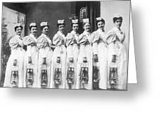 Nurses On Night Rounds 1899 Greeting Card by Science Source