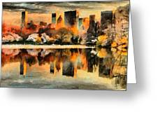 Nyc At Sunset Greeting Card by Anthony Caruso
