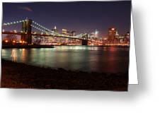 Nyc Brooklyn Nights Greeting Card by Nina Papiorek