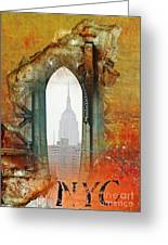 Nyc Empire State Art Abstract Greeting Card by Anahi DeCanio