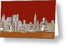 Nyc Red Sepia  Greeting Card by Lee-Ann Adendorff