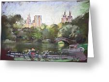 Nyc Resting In Central Park Greeting Card by Ylli Haruni