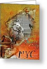Nyc Urban Lion Greeting Card by AdSpice Studios