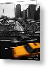 Nyc Yellow Cab Greeting Card by Hannes Cmarits