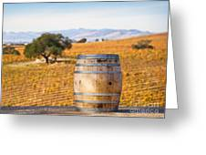Oak Barrel at Vineyard Greeting Card by David Buffington