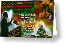 Obama Vs. Cornel Greeting Card by Tony B Conscious