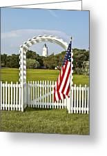 Ocracoke Lighthouse July 4th Greeting Card by Bill Swindaman
