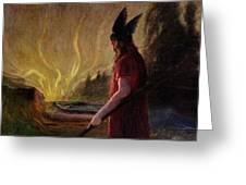 Odin Leaves As The Flames Rise Greeting Card by H Hendrich