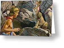 Oedipus Encountering The Sphinx Greeting Card by Roger Payne