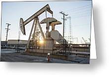 Oil Derrick Greeting Card by Mike Raabe