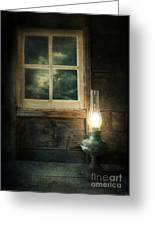 Oil Lamp On Table By Window Greeting Card by Jill Battaglia