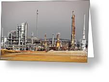 Oil Refinery Greeting Card by Carlos Caetano