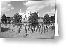 Oklahoma City National Memorial Black And White Greeting Card by Ricky Barnard