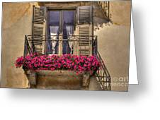 Old Balcony With Red Flowers Greeting Card by Mats Silvan