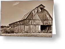 Old Barn In Sepia Greeting Card by Douglas Barnett