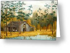 Old Barn With Chickens Greeting Card by Vivian Eagleson