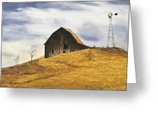 Old Barn With Windmill Greeting Card by Johanna Lerwick