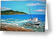 Old Boat At The Beah Greeting Card by Kostas Koutsoukanidis