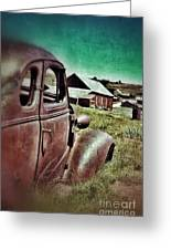 Old Car And Ghost Town Greeting Card by Jill Battaglia