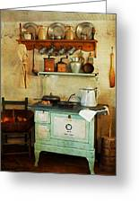 Old Cast Iron Cook Stove Greeting Card by Carmen Del Valle