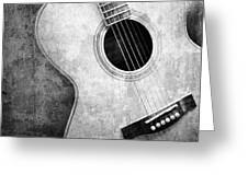 Old Guitar Black And White Greeting Card by Nattapon Wongwean