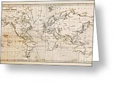 Old Hand Drawn Vintage World Map Greeting Card by Richard Thomas