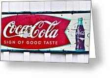Old Metal Coke Sign Greeting Card by Susan Leggett