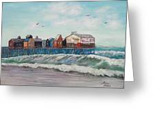 Old Orchard Beach Greeting Card by Linda Krider Aliotti