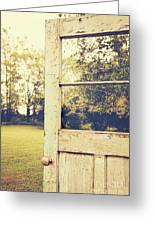 Old Peeling Door With Landscape Greeting Card by Sandra Cunningham