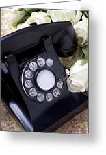 Old Phone And White Roses Greeting Card by Garry Gay