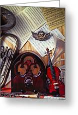 Old Radio And Music Instruments Greeting Card by Garry Gay
