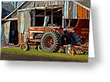 Old Red Tractor And The Barn Greeting Card by Michael Thomas