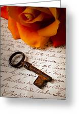 Old Skeleton Key On Letter Greeting Card by Garry Gay