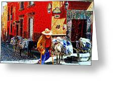 Old Timer With His Burros On Umaran Street Greeting Card by John  Kolenberg