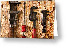 Old tools on rusty counter  Greeting Card by Garry Gay