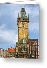 Old Town Hall Prague Cz Greeting Card by Christine Till