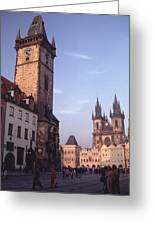 Old Town Square Prague At Sunset Greeting Card by Tom Wurl