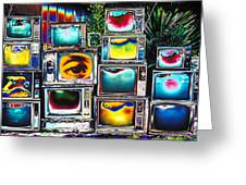 Old Tv's Abstract Greeting Card by Garry Gay