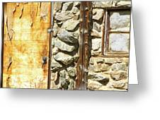 Old Wood Door Window And Stone Greeting Card by James BO  Insogna
