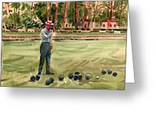 On The Bowling Green Greeting Card by Donald Maier