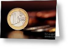 One Euro coin Greeting Card by SOULTANA KOLESKA
