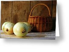 Onions On The Counter Greeting Card by Sandra Cunningham