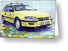 Opel Omega A Caravan Prague Taxi Greeting Card by Yuriy  Shevchuk