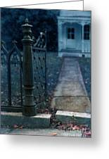 Open Iron Gate To Old House Greeting Card by Jill Battaglia