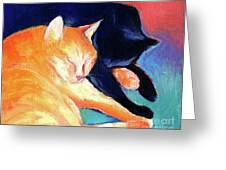 Orange And Black Tabby Cats Sleeping Greeting Card by Svetlana Novikova