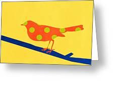 Orange Bird Greeting Card by Linda Woods