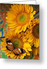Orange Black Butterfly And Sunflowers Greeting Card by Garry Gay