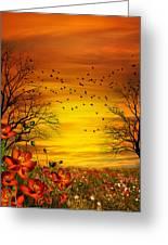 Orange Meadow Montage Greeting Card by Julie L Hoddinott