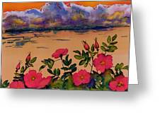 Orange Sun Over Wild Roses Greeting Card by Carolyn Doe
