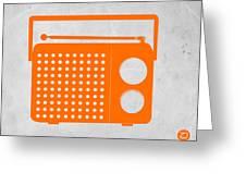 Orange Transistor Radio Greeting Card by Naxart Studio